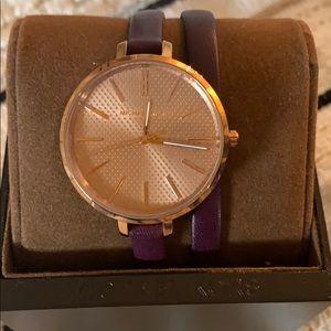 Michael Kors Jaryn Rose Gold & Plum Leather Watch